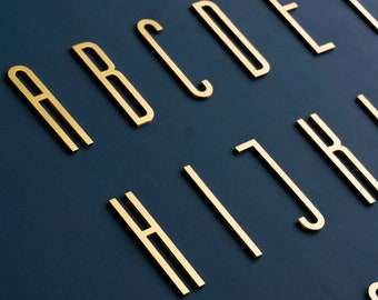 Modern House Numbers / Brass House Number Sign / Metal Address Number / Self Adhesive House Letter/ Gold House Numbers / Gold Room Numbers