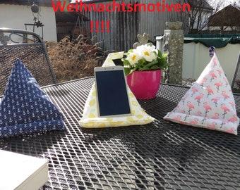 Mobile phone beanbag, pyramid pillow, mobile phone holder, smartphone pillow, mobile phone pillow, gift,maritim, VW-Bulli,camping