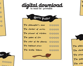 Digital Harry Potter To Read List   Digital Download Printable   Books To Read Checklist   Instant Download