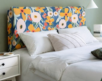 Bed headboard cover, stretch bed headboard covering, flower cover for bed headboard, bed decor, headboard slipcover