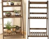 3 Tier Flower Plant Pot Shelf Stand Display Garden Step Style Ladder Rack Wooden, wooden, UK
