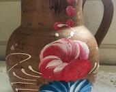 Vintage pottery pitcher milk jug farm house vase