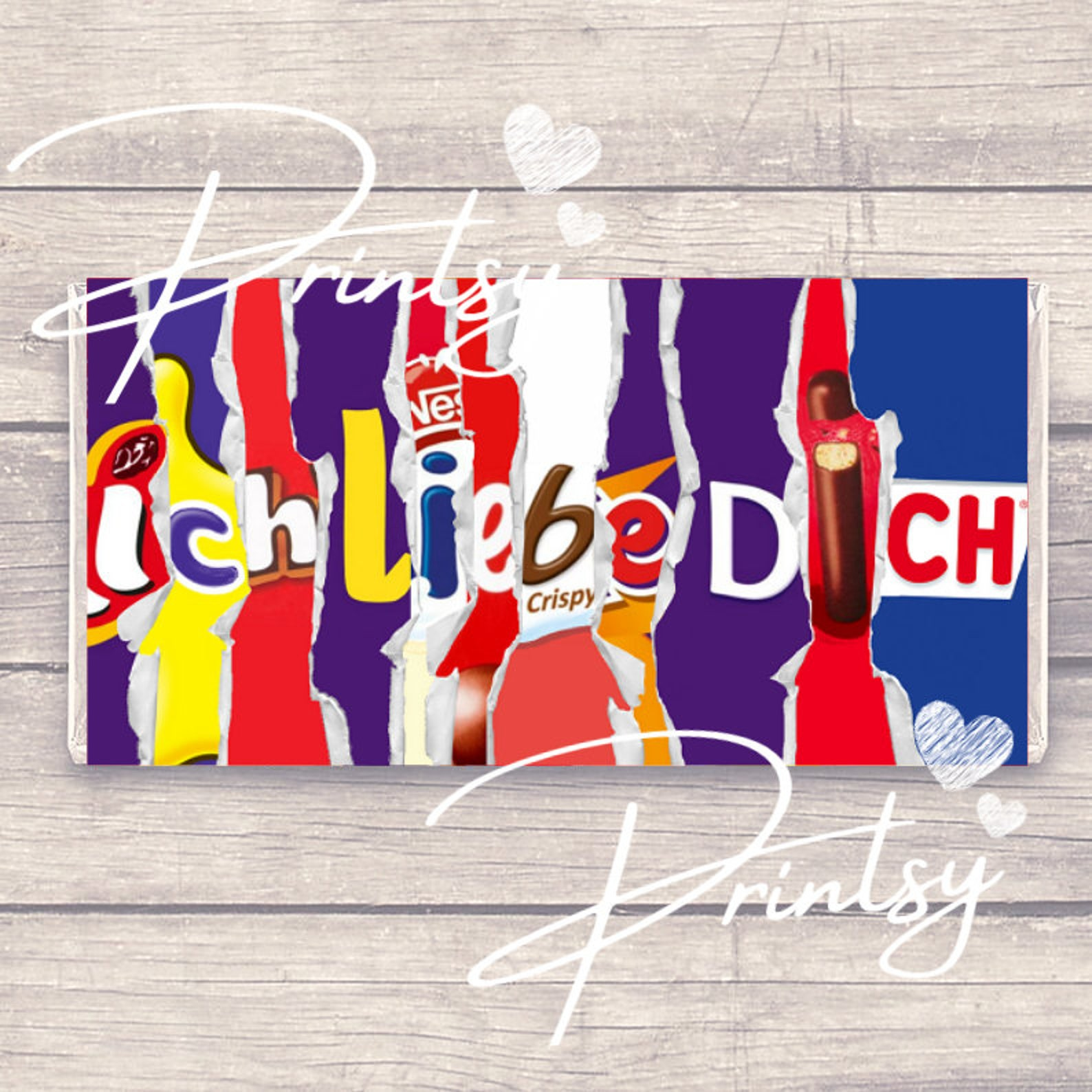 I Love You in German- Ich liebe dich - Novelty Chocolate Bar Wrapper - Valentine Message - *WRAPPER ONLY* - Funny - Adult
