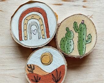 Boho Wood Slice Magnet // Hand Painted Art // Miniature Painting // Wood Magnet