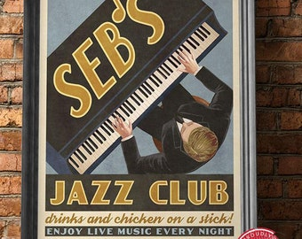 Blues Jazz Peacock Chicago Music Bar Club Vintage Poster Repro FREE SHIPPING