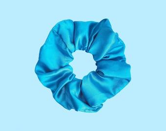 turquoise satincrunchie sea Scrunchie handmade with love