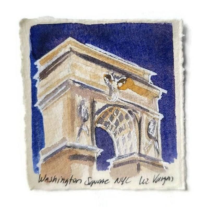 3x3 aprox Original miniature watercolor painting New York City Washington Square