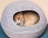 Cat Nap Cocoon 47cm Pet Cave Kitty Bed Dog House Felt Vessel - Hand Felted Wool - Crisp Modern Design