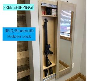 MIRROR SAFE -  Hidden storage mirror,  In-wall gun safe, concealment cabinet rifle - pistol - shotgun