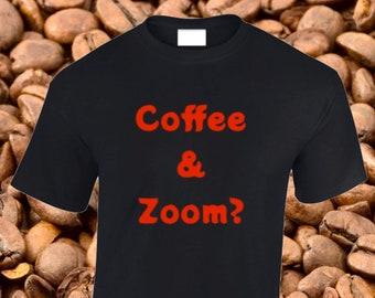 Plus size T-Shirts, XL, 2XL, 3XL, 4XL, 5XL, unisex, blue, black, ash grey, Coffee & Zoom slogan, 100% cotton.