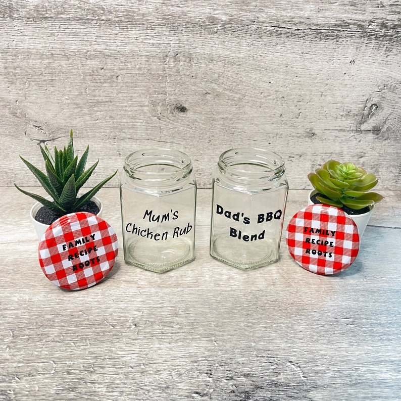Personalised jars Hexagonal Glass jars vinyl labels that image 1