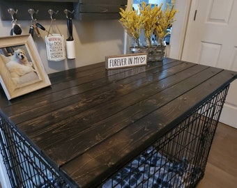 Dog Kennel Wood Table Top, Crate Top, Entry Table, Dog Kennel Cover, Dog Crate Cover, Farmhouse, Pet Supplies, Pet Furniture, Crate Cover
