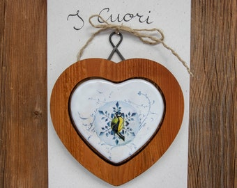 HEART in WOOD and CERAMIC with Central Decoration, 100% Made in Italy, Handmade, Original Gift, BottegaCamporosso