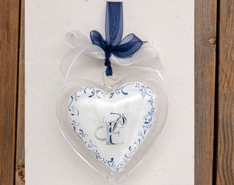 HEART IN BLOWN GLASS - Customized with Silver Leaf Initial, 100% Made in Italy, Handmade, Bomboniera, BottegaCamporosso
