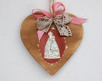 HEART-shaped WOOD SHEET with Central Madonna, 100% Made in Italy, Handmade, Original Gift, BottegaCamporosso