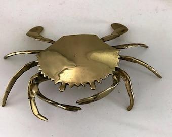 Vintage White Ceramic Crab Shell Ashtray Trinket Dish Beach Decor