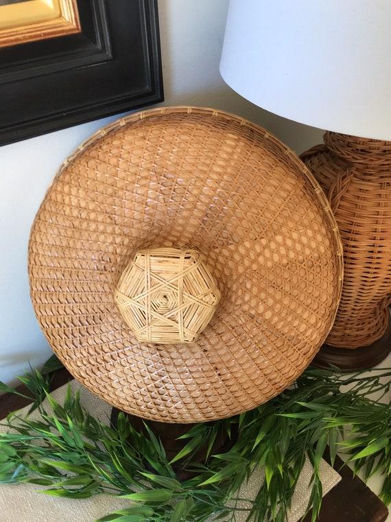 """Woven Coolie Hat - Vintage Rattan 14.5""""  Coolie Ha"""