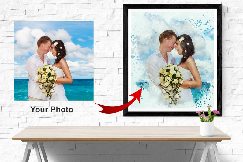Watercolor Art on framed Canvas Cute Couple Portrait Personalized Wedding Painting Custom Family Print CUSTOM PAINTING from Photo