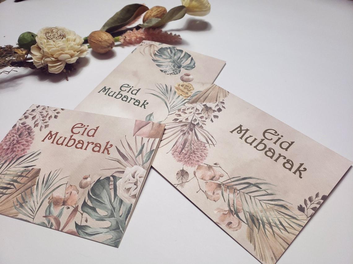 eid mubarak greeting card boho floral eid islamic greeting