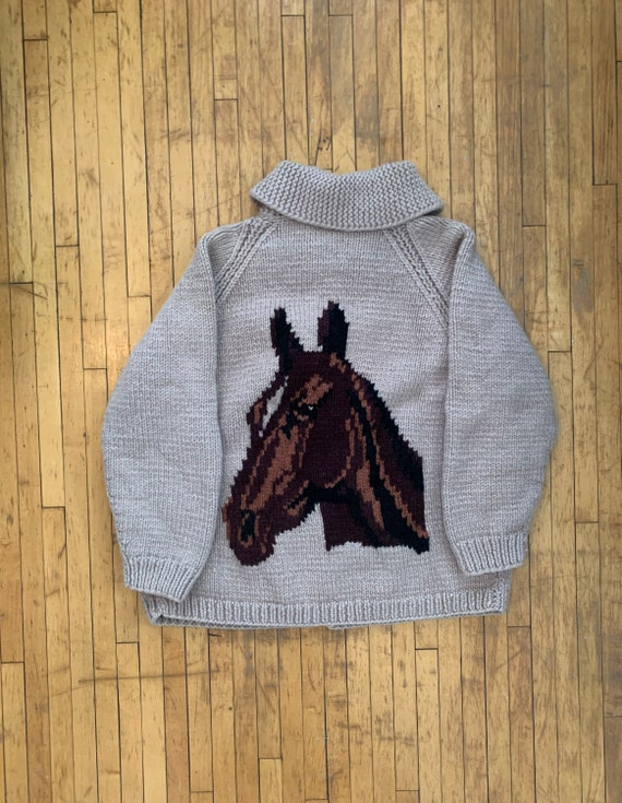 1950s Hand Knit Horse Sweater