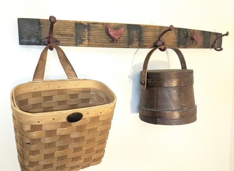Country Barrel Wall Hanger Barrel Stave Decorative Wall Decor Towel Holder Kitchen Towel Holder Rustic CoatHat Hanger