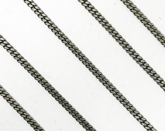 Sterling Silver Chain 18 inches or 1.5 feet 2.8mm x 4.1mm Oxidized- Double Diamond Cut Curb Link SKU: 101035-OX