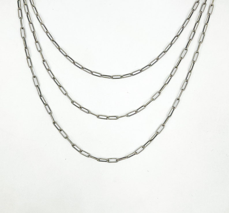 Wholesale Small Paperclip Chain Yard Paperclip Chain by Foot Unfinished 925 Oxidized Silver Oval Chain Oxidized 8x3 Oval Rectangle Chain