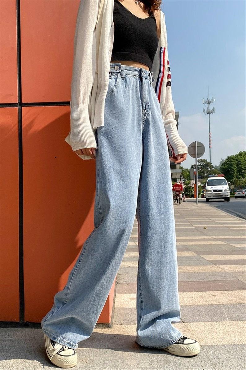 Y2K Baggy Jeans Denim Jeans  Light blue Jeans  Relaxed Jeans  Womens wide leg Jeans  Vintage Jeans Women  High Waisted women jeans