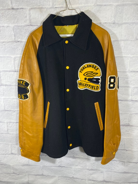 Vintage 90's leather college varsity jacket
