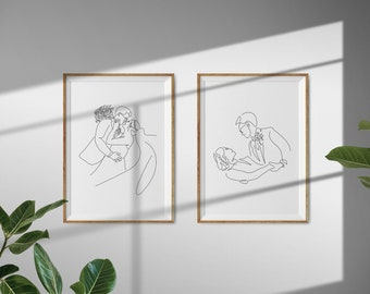 Custom Line Art - Wedding Portraits  ||  Personalized gift · Hand-drawn · Digital Download