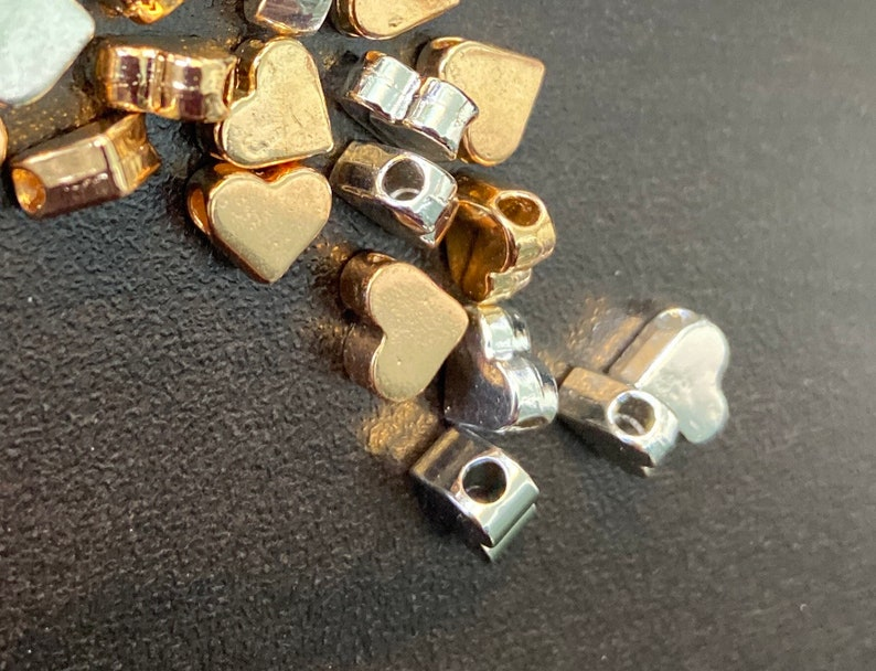 Little tiny heart charm or bead dainty gold tone or silver tone alloy 6mm with 2mm hole