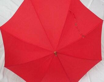 Vintage Red Umbrella Parasol Hook Handle