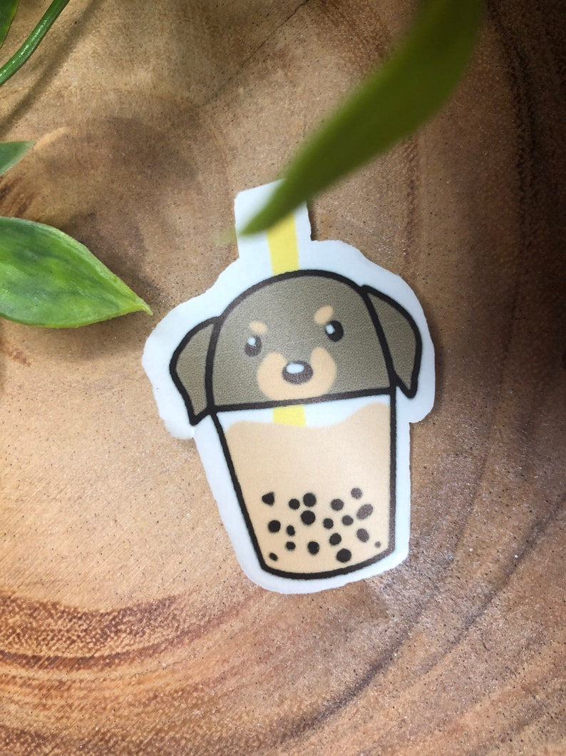 Puppy Boba Matte Non Waterproof Stickers