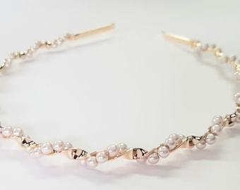 Pearl headband, Gold twisted headband, Bridesmaid headband, Metal headband