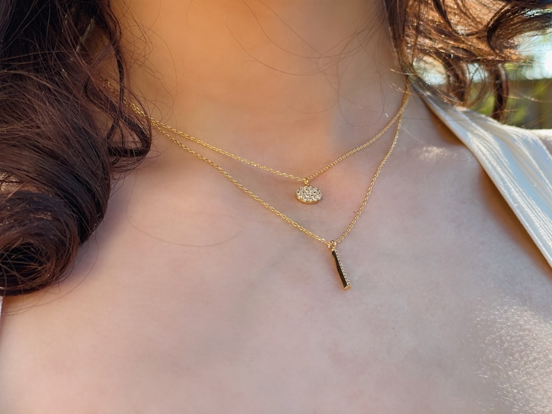 18 Karat Gold Dipped Double Chain Small Pendant Necklace