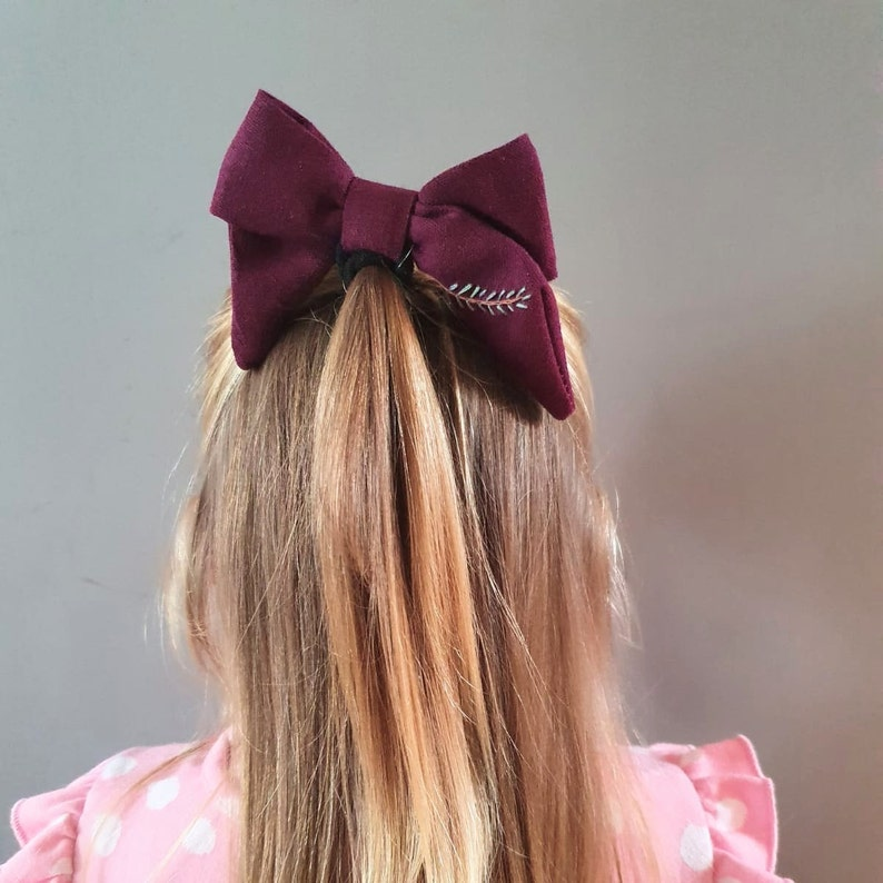 Girls Accessories Eco Hair Accessory Large Linen Hair Bow Burgundy Red Linen Hair Bow with Black Bobble Fabric Hair Bow Linen Hair Bow