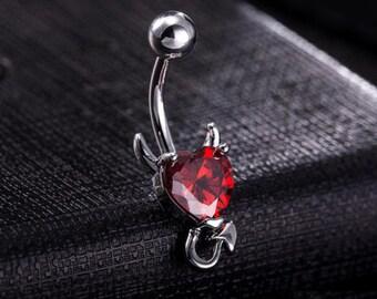 Devil Heart CZ Stone Belly Navel Bar Stainless Steel Horn Tail 3 Colours 010