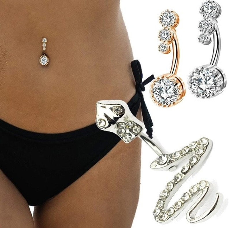 New Triple Stone or Snake Design Belly Bar Piercing Crystal Navel Ring 316L Surgical Steel