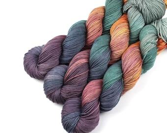 Autumn Bliss, Superwash Merino Hand Dyed Yarn, Knitting Wool, Crochet Fiber, Indie Dyed Sock Yarn, Hand Dyed Autumn Yarn, Fall Coloured Yarn