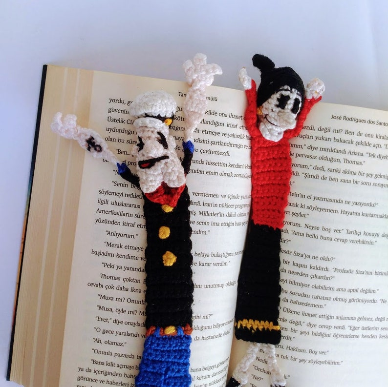 Crochet Popeye and Olive oyl  Bookmark Knitted Amigurumi Popeye Best gift for book  lovers