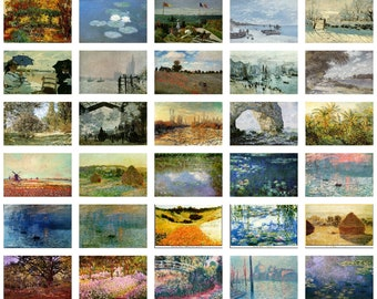 Dolls House Printable Miniature Paintings - Claude Monet Collection, 42 paintings, 1:12 scale, Nature, Landscapes for printing & projects.