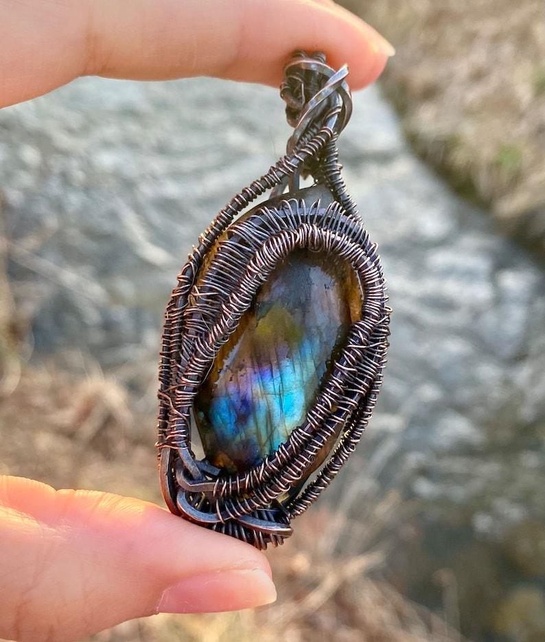 Flashy Labradorite Wire Wrapped Pendant