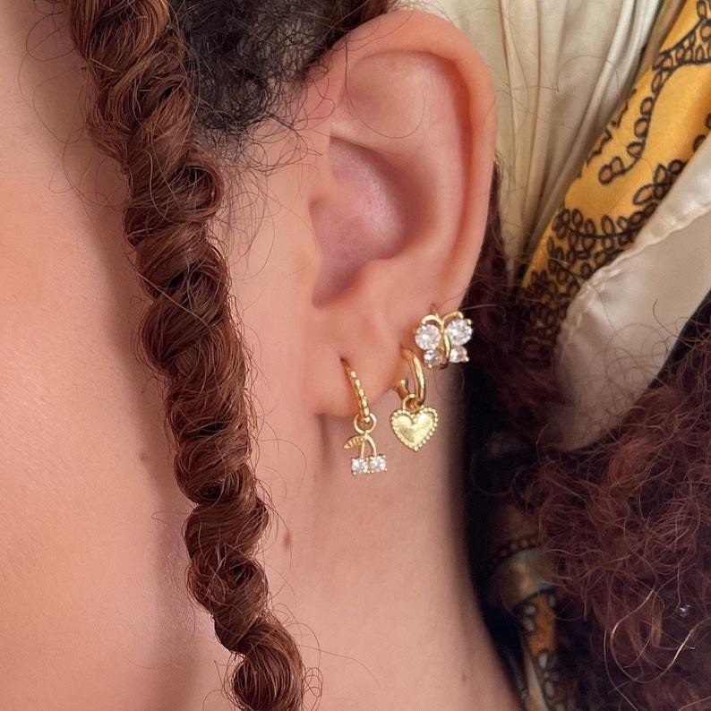 Dainty Cherry Charm Hoop Huggie Earrings Hoop Huggies 18k Gold filled cherry dangle earrings