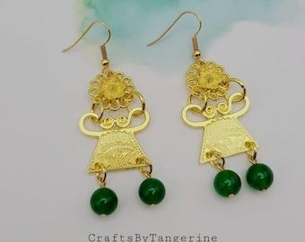 Phiaj earrings Jade Hmong earrings Hmong earrings Jade earrings Hmong inspired earrings Jade phiaj earrings Hmong silver earrings.