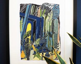Majorelle Garden / Jardin Majorelle / Marrakesh, Morrocco Tropical Print A3