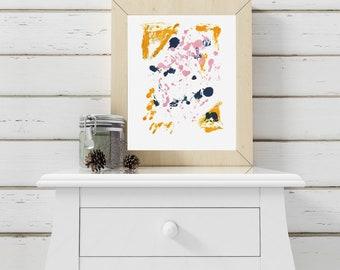 8x10 Living Room Art/Yellow Blue Pink Art/Playful Wall Decor/Bright Abstract Art