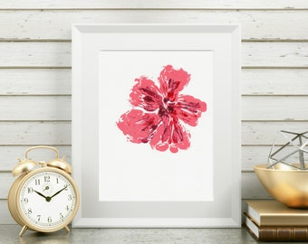 8x10 Pink Wall Art/Artwork with Flowers/Pink Abstract Décor