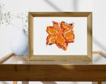 Flower Wall Decor/Floral Print/Orange Bloom/Gift for Gardener/8x10 Orange Wall Art