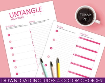 Weekly Planner Pages/Fillable PDF/Printable/Instant Download