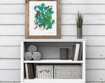 8x10 Blue Green Art/Blue Wall Décor/Green Blue Abstract/Green Wall Decor